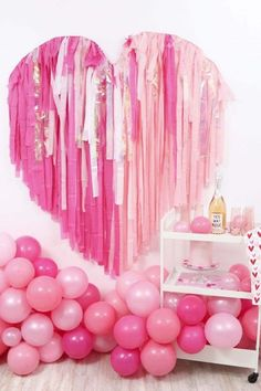This heart shaped fringe backdrop is perfect for Instagram-worthy photo ops! Use it as a photo booth backdrop for a Valentine's or Galentine's Day Party, birthday, or for a wedding! Get details now at fernandmaple.com. Streamer Backdrop, Photo Booth Backdrop, Streamers, Photo Backdrops, Photo Booths, Tissue Garland, Balloon Garland, Balloons, Garlands
