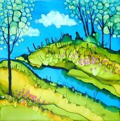 Alcohol Ink Art - Abstract Landscape with Stream  by Laurie Anderson