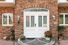 Doors made of plastic or wood with style elements such as rungs, bows, attached cassettes and individual frame colors – ECO System HAUS by Country Style Curtains, Garden Design, House Design, Farmhouse Renovation, Exterior Makeover, Facade House, Porch Decorating, Home Builders, Building A House