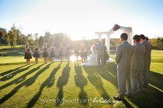 bridal party and shadows on golf course  rock barn spa, newton nc