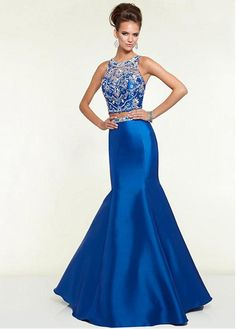 Charming Tulle & Satin Jewel Neckline Floor-length Mermaid Prom Dress