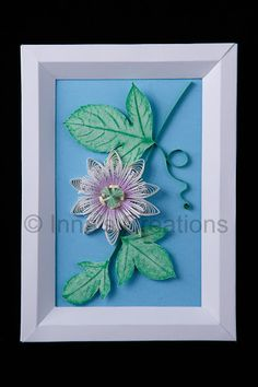 Tutorial for a cardstock beveled frame. Quilled passionflower in a paper frame