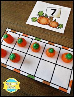 Ten and teen frame building with candy pumpkins! Fall Preschool Activities, Numbers Preschool, Preschool Math, Halloween Activities, Kindergarten Math, Fun Math, Number Activities, Math Art, Educational Activities