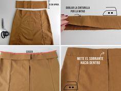 diy coser cinturilla falda bonotes delanteros
