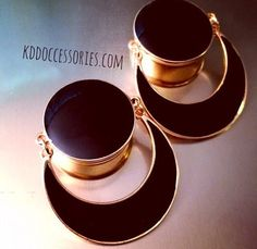 00g - 3/4 Black & Gold half moon  Plugs Gauges by KddOccessories, $24.00