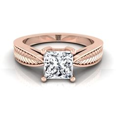 Classic 4 Prong Princess Cut Diamond Engagement Ring With Leaf Texture Design In Rose Gold Radiant Cut Engagement Rings, Princess Cut Engagement Rings, Rose Gold Engagement Ring, Princess Cut Rings, Princess Cut Diamonds, Modern Jewelry, Diamond Cuts, Leaf Texture, Texture Design