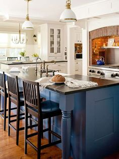 black countertops, blue and white