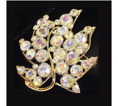 BSK AB Rhinestone Large Leaf Brooch - Vintage Designer Jewelry. $24.99, via Etsy.