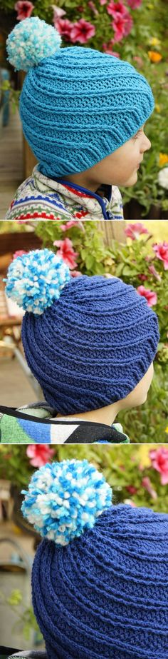 Crochet Swirly Hat With Pompom See other ideas and pictures from the category menu…. Faneks healthy and active life ideasRead More → Bonnet Crochet, Crochet Cap, Crochet Beanie, Irish Crochet, Chevron Crochet Blanket Pattern, Easy Crochet Patterns, Crochet Hats For Boys, Baby Boy Hats, Crochet Accessories