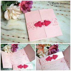 Floral Pink Chinese Knot Wedding Window Fold Card (craftyfarms.blogspot.com)