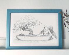 Lámina ilustrada A4 - Ilustración Infantil de Fantasía - Pequeña y secreta amistad