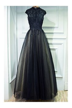 Shop Vintage Chic Long Black Lace Formal Prom Dress With Cap Sleeves online. SheProm offers formal, party, casual & more style dresses to fit your special occasions.