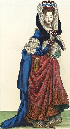 """""""Femme de Qualité en Habit d'Hyver"""" (1687), from """"Recueil des modes de la cour de France""""."""