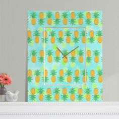 Lisa Argyropoulos Pineapples And Polka Dots Rectangular Clock | DENY Designs Home Accessories #rectangular #rectangle #clock #pineapples #polkadots #cybermonday #shopsmall #DENYholiday #tropical #cute #awesome #decor #home #office #dorm #guesthouse #cute