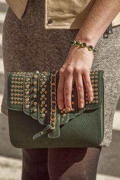 green studded clutch