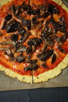 This Wild Mushroom Pizza with Cauliflower Crust is healthy, low-carb, & gluten-free. This is the best vegetarian pizza for parties and weeknight meals.