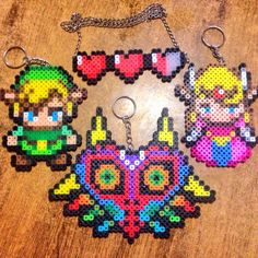 TLOZ Perler Beads (Link, Zelda, Majoras Mask, Health Bar)