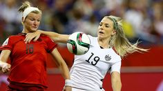 Julie Johnston's foul against  Alexandra Popp in the World Cup semifinal against Germany, June 30, 2015. (Elsa Garrison/Getty Images)