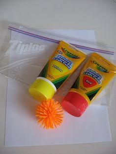 Ziploc painting. Ziploc, paper, a ball, paint..close, shake. Colors!