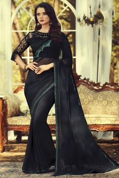 Online Shopping of Party Style Georgette Fabric Fancy Black Color Saree With Embroidered Blouse from SareesBazaar, leading online ethnic clothing store offering latest collection of sarees, salwar suits, lehengas & kurtis Georgette Fabric, Georgette Sarees, Bollywood Sarees Online, Party Wear Sarees Online, Net Blouses, Trendy Sarees, Bridal Lehenga Choli, Indian Ethnic Wear, Blouse Online