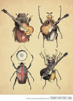 funny-The-Beatles-insects-instruments