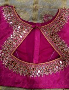 Classy blouse design for pattu sari Read about Saree Blouse Neck Designs, Fancy Blouse Designs, Saree Blouse Patterns, Dress Neck Designs, Mirror Work Blouse Design, Mirror Work Saree Blouse, Stylish Blouse Design, Bollywood, Designer Blouse Patterns