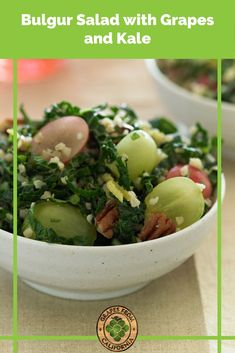 Here's a healthy, vegan bulgur salad recipe featuring sweet red and green grapes from California that makes a great side dish for dinner. #bulgurrecipes #bulgur #bulgursalad #bulgurrecipeshealthy #healthy #vegan #dinners #red #salad #sidedishes #easy #vegetarian #sweet #veganrecipes #vegetarianrecipes #cleaneatingrecipes #cleaneating #dairyfreerecipes #healthyfats Bulgur Recipes, Vegetarian Recipes, Grape Recipes, Fall Recipes, Wheat Berry Salad, Bulgur Salad, California Food, Green Grapes, Salad Ingredients