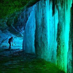 Behind the falls at Minnehaha Falls in Minnesota, USA