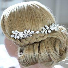 Wedding Headpiece Bridal Hair Accessory Headband with Swarovski Crystal Leaf Hair Vine LAYNE. $195.00, via Etsy.