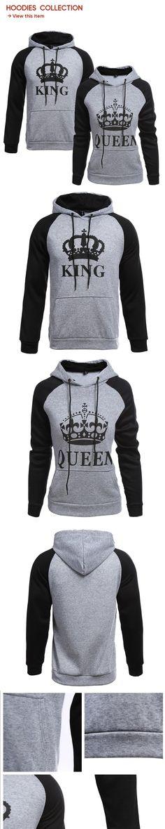 a16b1a00134 2018 KING Queen Crown Print Unisex Men Women Autumn Hoodies Slim Sweatshirt  for Couple Lovers Winter