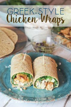 A delicious lunch or dinner in just 15 minutes! Greek-Style Chicken Wraps with Tyson®️️ Grilled & Ready Chicken Breast Strips from Food Fun Family. #ad #GrilledAndReady @SamsClub