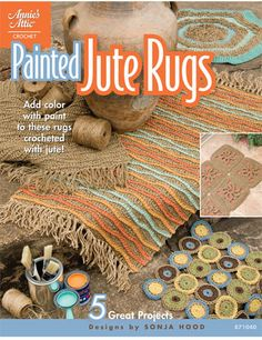This is awesome! - make your own throw rugs with a burlap base and crochet with jute, then just paint as you please with latex paint [for indoor or outdoor rugs]!