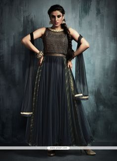 Unique Embroidered Work Net Anarkali Salwar Kameez Model: YOS7643