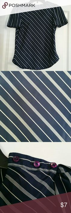 Jonathan Martin navy blouse size 5-6 In great condition blouse/dress shirt with navy and white diagonal stripes. There's 3 buttons on the left shoulder. Label size is 5-6 which is a small. Loose fitting. 100% polyester Tops Blouses