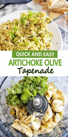 Easy recipe for Artichoke Green Olive Tapenade. Use for an appetizer, pasta sauce, on a platter or simple with crackers. #dip #easyrecipe #olivetapenade @sweetcaramelsunday Healthy Meals To Cook, Easy Healthy Recipes, Healthy Cooking, Real Food Recipes, Healthy Snacks, Easy Meals, Olive Recipes Appetizers, Italian Appetizers, Dinner Recipes