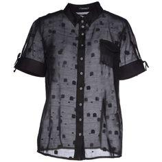 Le Jean De Marithé + François Girbaud Shirt ($49) ❤ liked on Polyvore featuring tops, black, silk shirt, short sleeve silk top, button down collar shirts, short sleeve button down collar shirts and silk top