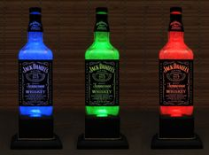 Jack Daniels Whiskey Color Changing Bottle Lamp LED Remote Controlled Eco Friendly rgb LED /Party Light/American Whiskey-Bodacious Bottles- (or just drop a glow stick in an empty bottle and call it good?!)
