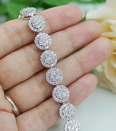 Solid 925 Sterling silver beautiful white round halo eternity bracelet gift CZ* #NIKI #Tennis