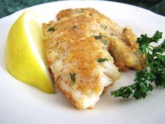 2 eggs 1 tsp lemon pepper 1 tsp garlic 1 cup ground almonds tilapia fillets 6 tbsp butter parsley Beat the eggs with the lemon pepper and garlic. Dip the tilapia in egg, then press into the almonds. Cook tilapia in melted butter. Fish Dishes, Seafood Dishes, Fish And Seafood, Tasty Dishes, Seafood Recipes, Cooking Recipes, Main Dishes, Shellfish Recipes, Cooking Rice