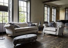 Elegant 4 seater fabric sofa from Parker Knoll, with sweeping scroll arms and a fixed distinctively curved back. Parker Knoll, Sofa Sale, Fabric Sofa, Ranges, Living Room Designs, Cosy, Neutral, Arms, Lounge
