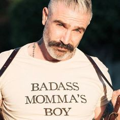 Never too old to be a Momma's boy! Daniel Sheehan, Duke Shirts, Beard Tattoo, Tattoo Ink, Tattoos, Book Boyfriends, Wattpad, Older Men, Hair And Beard Styles