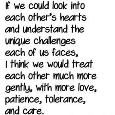 if we could look into each other's hearts and understand the unique challenges each of us faces, I think we would treat each other much more gently, with more love, patience, tolerance, and care