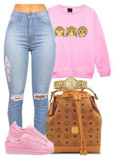 """""Just Bickin Back Boolin."""" by bria-myell ❤ liked on Polyvore featuring Marc by Marc Jacobs, MCM and adidas Originals"