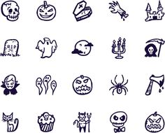 100 hand-drawn Halloween vectors — in the scariest (and very cute) icon set of Halloween icons! Cute Halloween Tattoos, Spooky Tattoos, Halloween Icons, Halloween Doodle, Halloween Vector, Halloween Drawings, Halloween Halloween, Emo Tattoos, Mini Tattoos