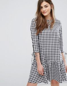 New Look Drop Waist Gingham Smock Dress - Black