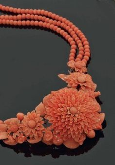 Carved Coral Necklace-- Color of the Month on LoveNestDesign blog-- June is Coral