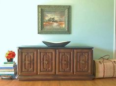 Vintage Console Credenza Buffet TV Stand with by AtTheYellowDoor. Ours does not have the slate top, just a wood one.
