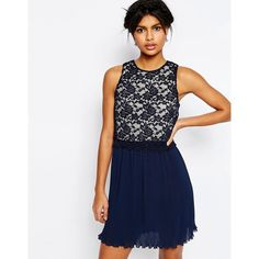 ASOS Lace Top Pleated Mini Dress ($43) ❤ liked on Polyvore featuring dresses, navy, white mini dress, white lace cocktail dress, navy blue cocktail dress, short white cocktail dress and lace dress