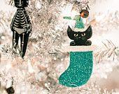 Custom Stocking Christmas Cat Clay Folk Art Ornament