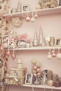 A resplendently pretty selection of pink, cream and silver hued Christmas decorations. #Christmas #pink #shabby #chic #decor #decorations #vintage #ornaments